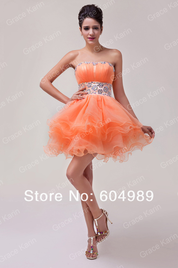 5223c7b7a05fe4 Grace Karin Orange Sweetheart Back to School Prom Short Homecoming ...