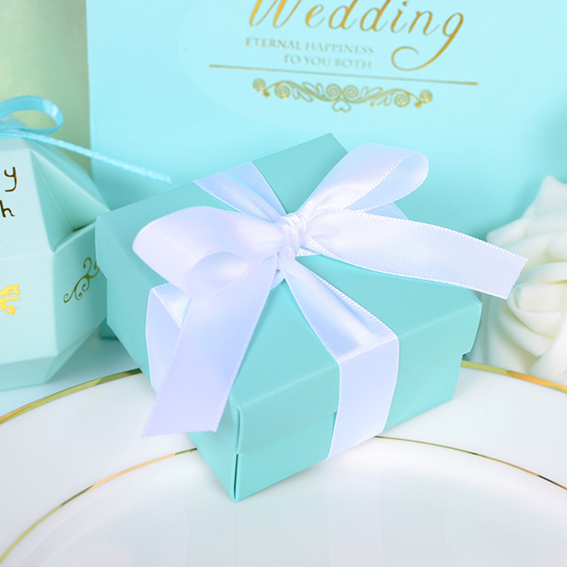 100pcs Blue Wedding Favors Candy Boxes Square Gift Box With Ribbon Wedding Favors And Gifts Party