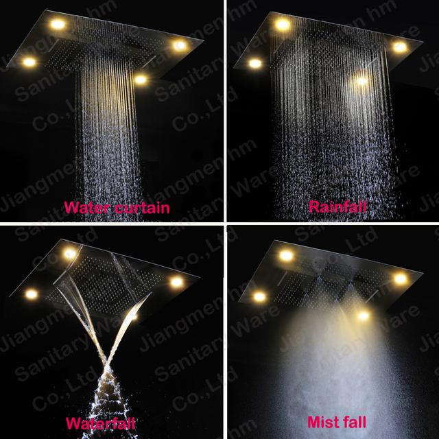Luxusní LED podsvícený sprchový systém s dešťovou sprchou, efektem vodopádu a ruční sprchou