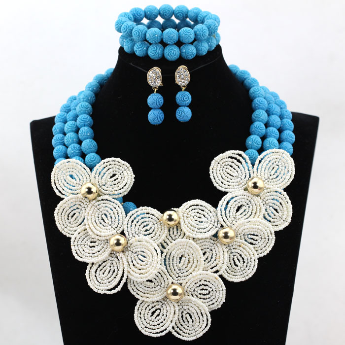 Cream White Flower Brooches Chunky Statement Necklace Set Teal Blue Beaded Bridal Women Jewelry Set Free Shipping CNR528Cream White Flower Brooches Chunky Statement Necklace Set Teal Blue Beaded Bridal Women Jewelry Set Free Shipping CNR528