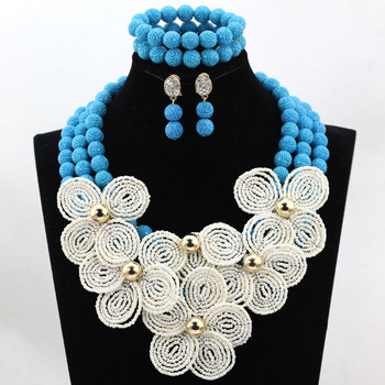 Cream White Flower Brooches Chunky Statement Necklace Set Teal Blue Beaded Bridal Women Jewelry Set Free Shipping CNR528
