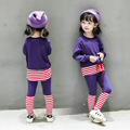 2 3 4 6 8 years girls fashion autumn cotton clothing set 2pcs shirt + pants kids spring cute clothes