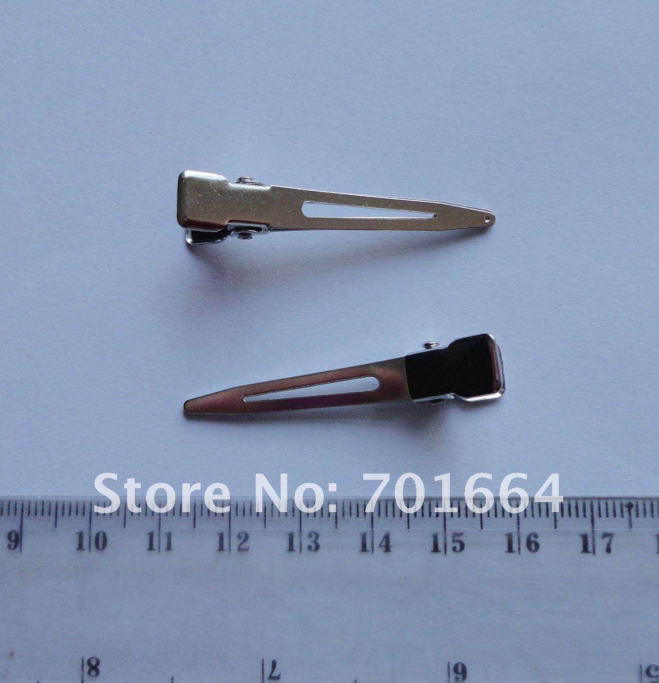 50 шт серебро 4,5 см простой одинарный зубец без зубов металлические зажимы аллигатора клипсы Утконос заколки для волос без свинца и никеля