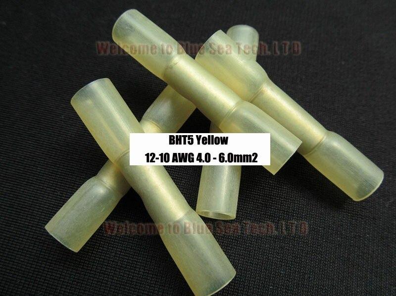 50 шт./лот BHT5 желтый термоусадочный стыковой разъемы и сращивания для 4,0-6.0mm2, 12-10 AWG провода гарантия качества