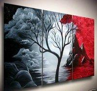 покрашенный вручную художественное произведение облако дерево высокого вопрос. декор стены современный пейзаж маслом на холсте 12x16 дюймов 3 шт./компл. mixorde подставил
