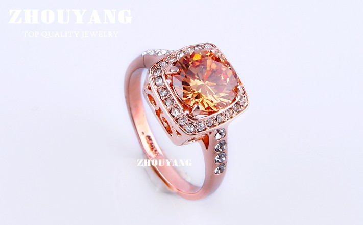 Top Quality ZYR057 Yellow Crystal Rose Gold Color Ring Jewelry Crystals From Austria Full Sizes Wholesale 18