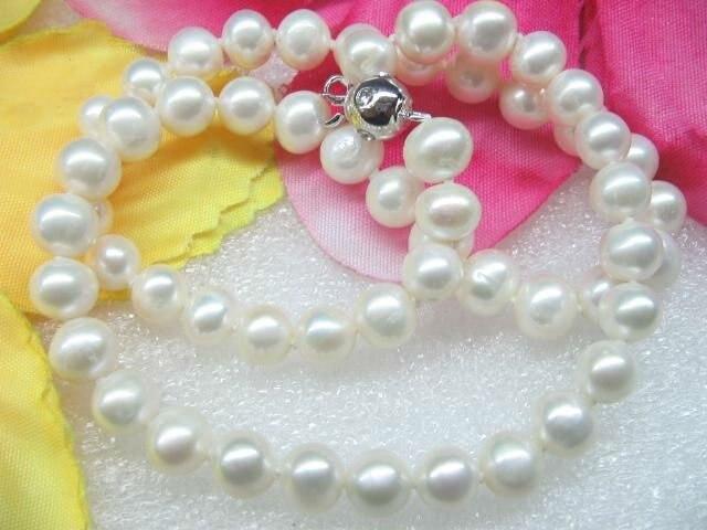 4 Кол-во 7 мм белый розовый фиолетовый чёрный пресноводный жемчуг ожерелье