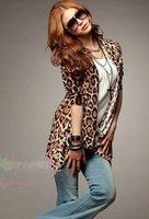 бесплатная доставка мода женская леопард кардиган хлопок тонкий женская леопард пальто