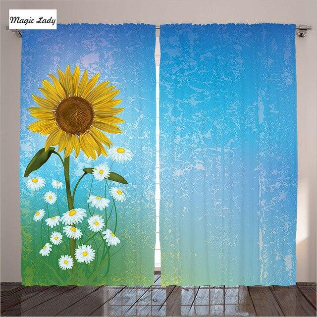 gordijnen paneel woonkamer raam slaapkamer zonnebloem bloemenprint pastel summertime art blauw geel groen 2 panelen set