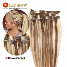 70g-120g Platinum Blonde Remy Human Hair Clip In Color 6/613# Clip in Human Hair Extensions Blonde Human Hair Clip In Extensions