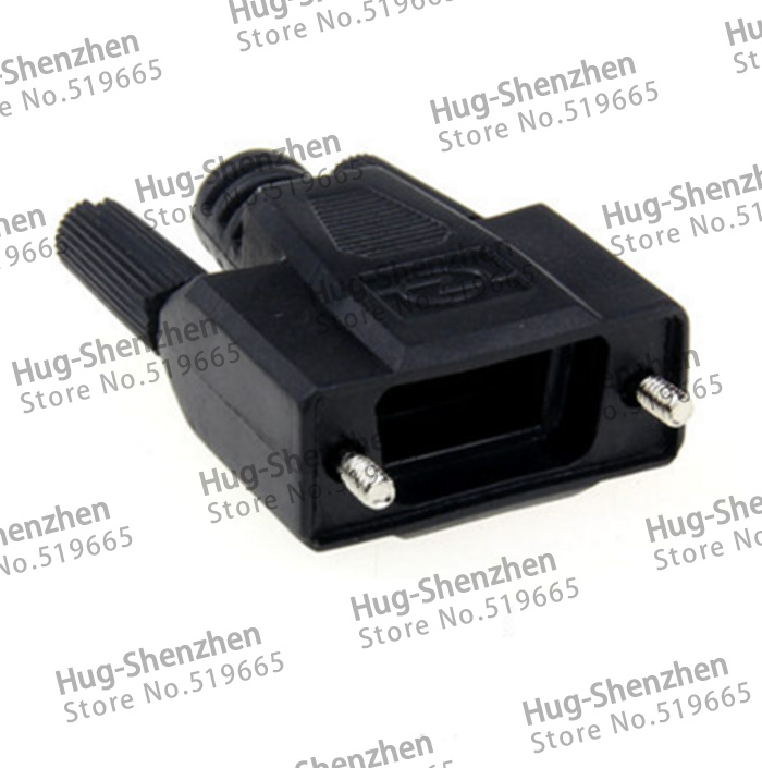 50pcs DB9 Pin Serial  VGA COM connector 232/485 Plug Black Plastic Shell  High Quality-in Computer Cables & Connectors from Computer & Office    2