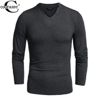COOFANDY Men Basic T Shirt Long Sleeve V Neck Pure Color Cotton Stretch Loose Casual Basic