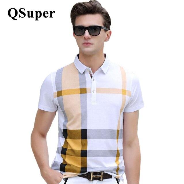 QSuper Летний Новый Мужчины Polo Рубашки Плед Цвета С Коротким Рукавом шелковый Хлопка С Коротким Рукавом Slim Fit Повседневная Бизнес Luxury Brand ткань