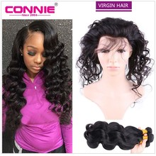 Pre Plucked 360 Lace Frontal Closure With Bundles 7A Brazilian Virgin Hair With Closure Body Wave Wavy Lace Frontal Weave Connie