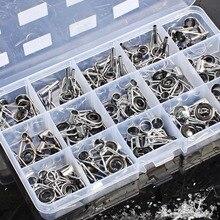 Sougayilang 75Pcs/Box Telescopic Fishing Rod Guide Tip Repair Kit Rod DIY Eye Rings Fishing Rod Guide Fishing Tackle