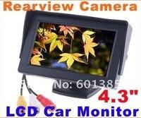 """супер дешевые и автомобильный монитор заднего вида 4.3 """"цветной жк-автомобилей зеркало заднего вида для камеры DVD-видеомагнитофон монитор автомобиля видео автомобиля бесплатная доставка"""