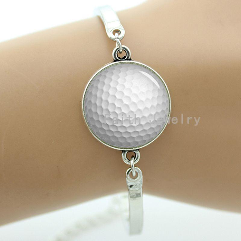 Modern golf ball bracelet casual sports series handmade resin glass dome metal jewelry golfer gift -1206