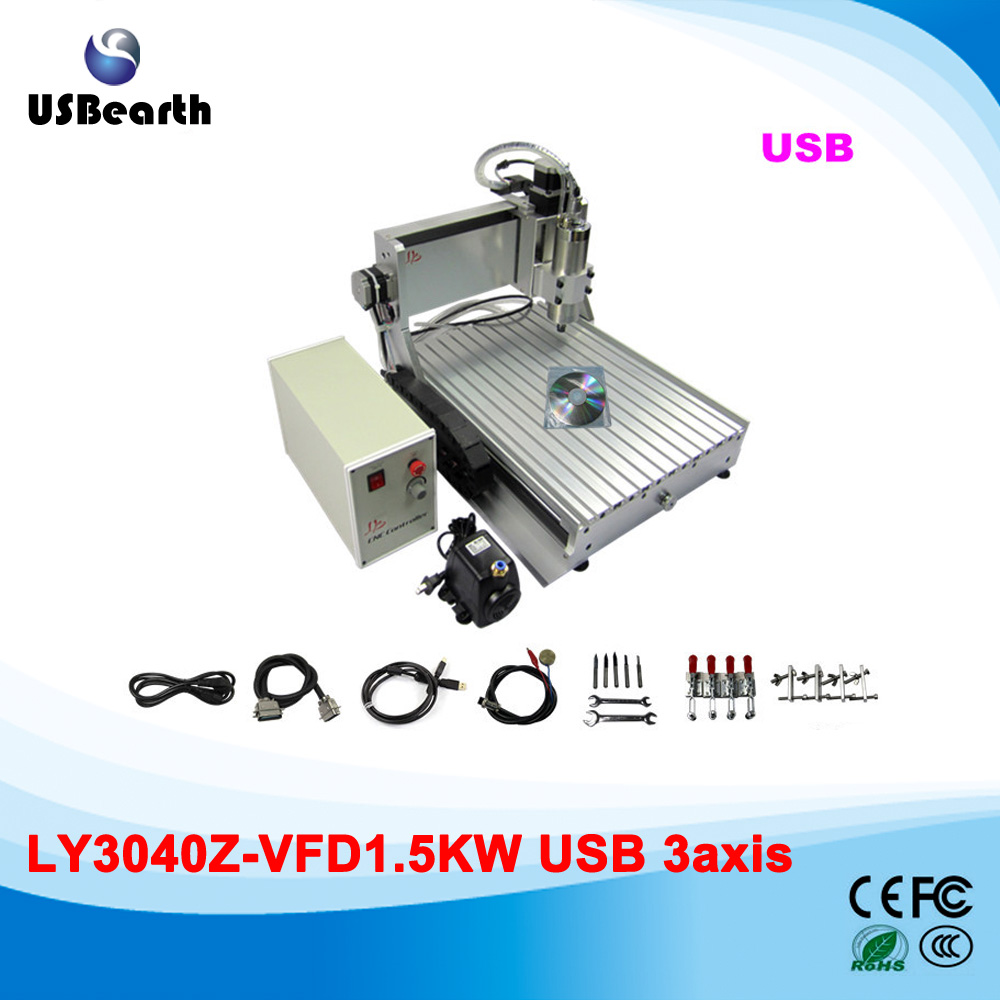 Russia no tax usb port 3 AXIS CNC Cutting Machine 3040 1.5kw with limited switch Mini CNC Router 3040 russia tax free cnc woodworking carving machine 4 axis cnc router 3040 z s with limit switch 1500w spindle for aluminum