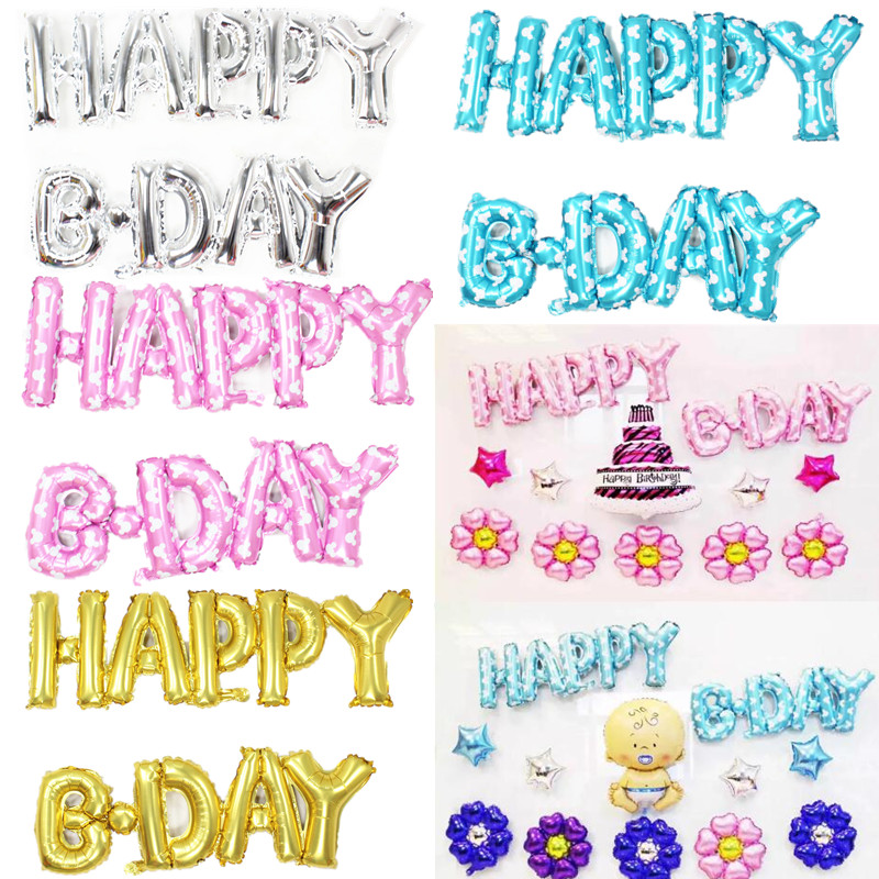 New Happy Birthday balloons Party Decoration connect Letters Alphabet Aluminum H