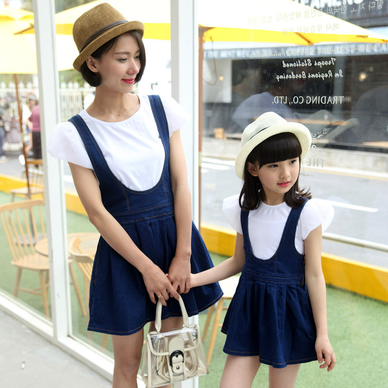 2016 family look girl and mother matching mother daughter clothes clothing set girls denim dress+ cotton t-shirts