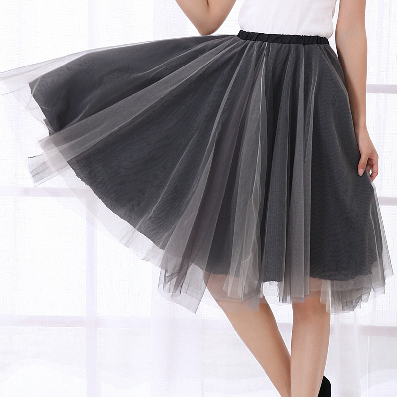 Net Yarn Ball Gown Korean Style Summer Skirt Black Grey Pink