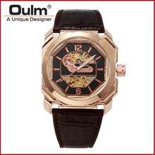 Часы мужские кожаный ремешок модные часы Oulm 3218 механические часы