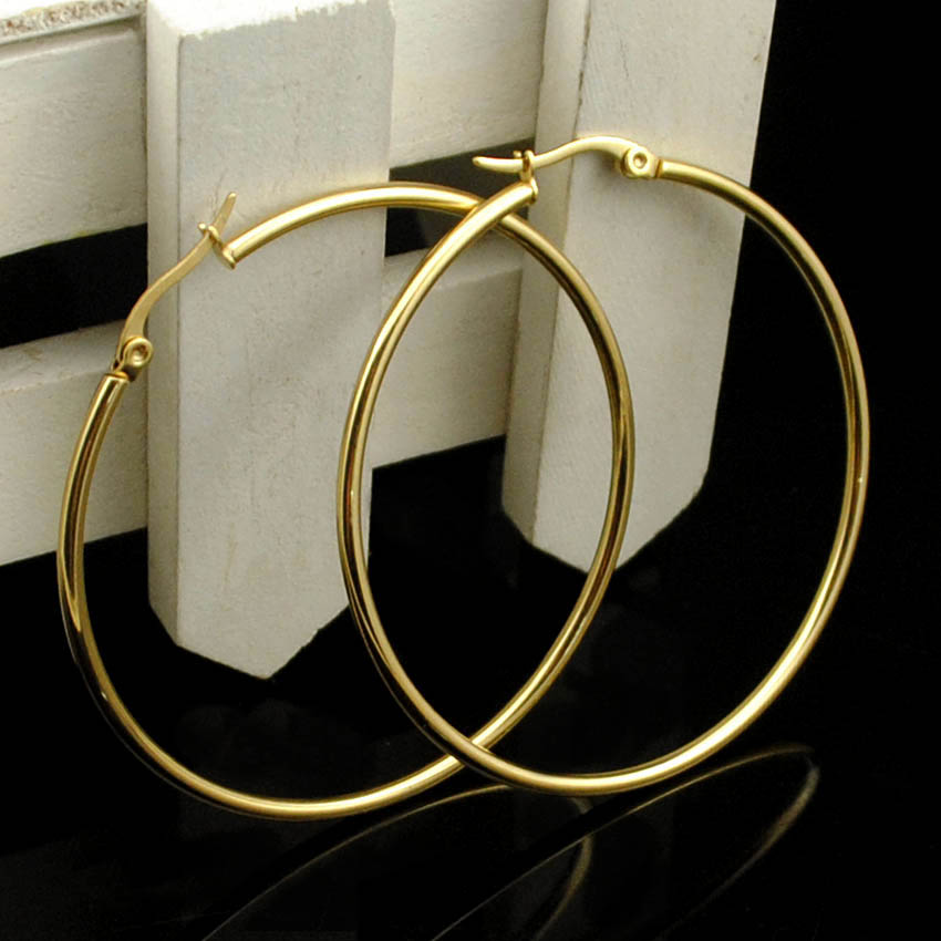 CHIMDOU Gold color Stainless Steel Earrings 2018 Women Small or Big Hoop Earrings Party Rock Gift, Two colors wholesale(China)