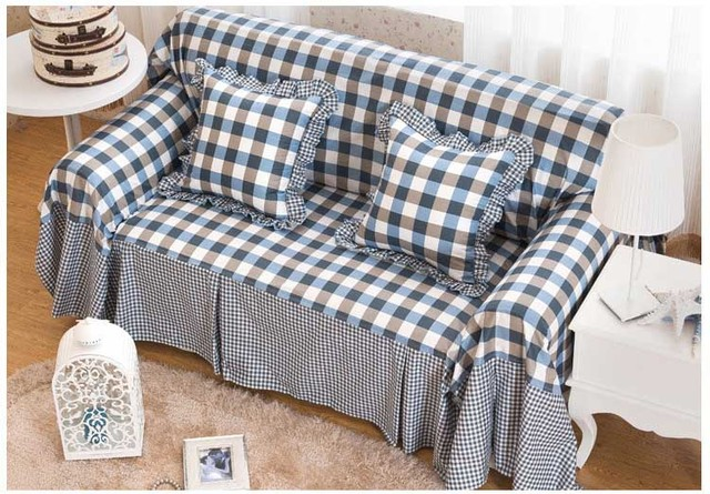 Hot Sale Cotton Simple Style Sofa Cover Four Sizes Sectional Sofa Covers I  Shaped Couch Cover