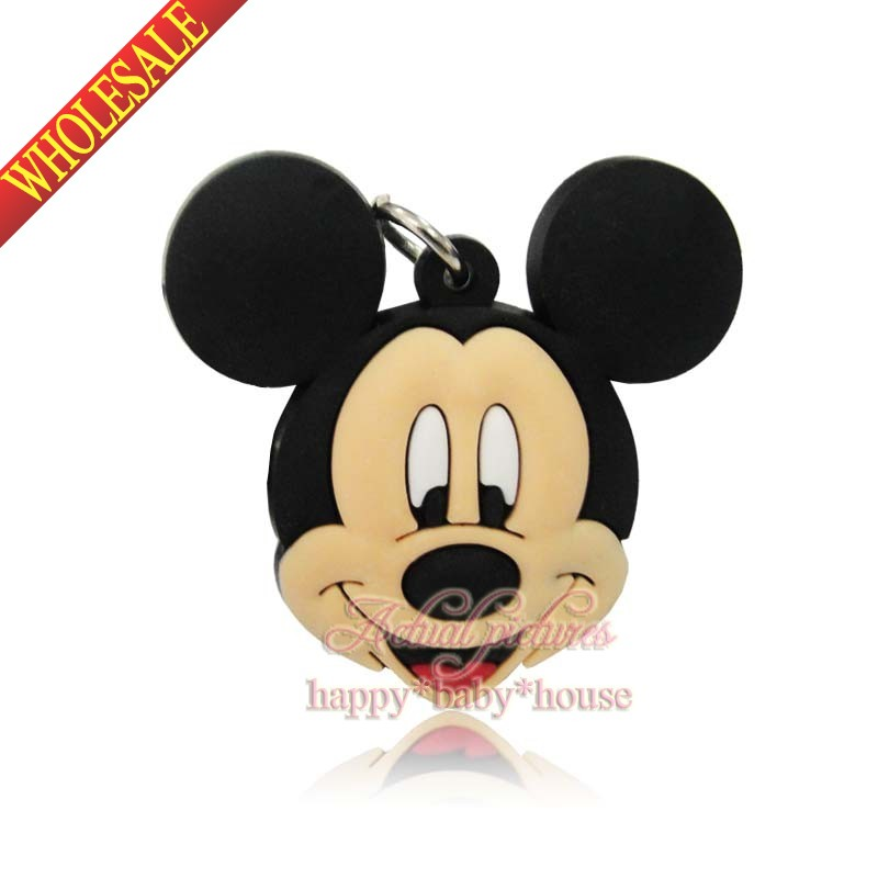 Lovely Party Gifts 1PCS Mickey Minnie PVC Keychains Charms,2D Keyrings Necklace Pendants,Cartoon Characters Travel Accessories