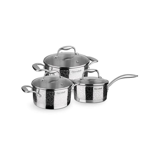Набор посуды Rondell Vintage RDS-379 (Ковш (16 см/1.5), 2 кастрюли (24 см/5 л, 20 см/3 л) и 3 крышки, Тройное вштампованное, а затем вплавленное дно 6.4 мм, Ободок крышки из нержавеющей стали против сколов и трещин)