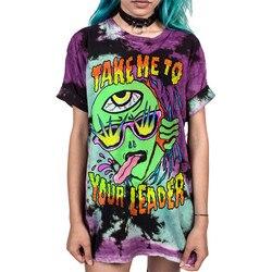 Soshirl camiseta harajuku punk, de verão, legal, hip hop, mulheres, solta, galaxy, letras, caveira/alienígena, bonita topo da impressão dropship