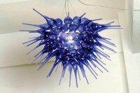 CE/UL LED Light Source Beautiful Blue Hand Blown Glass Chandelier Frame
