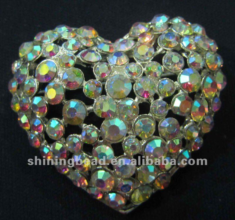 AB Цвет горный хрусталь брошь в форме сердца