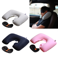 Travel Inflatable Neck Rest Air Cushion U Shaped Pillow Eye Mask Ear Plugs