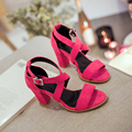 New stylish women pumps fashion Flock Leather Buckle Strap summer shoes Solid Retro style Cover Heel high heels sandal pumps