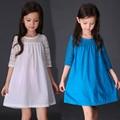 Niños Vestidos Para Niñas Una Línea de Encaje Vestidos de Las Muchachas del Verano 2016 sólido Lindo Bebé Para Las Muchachas Niños de La Manera Vestido de La Muchacha 4-12Y