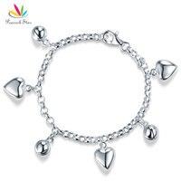 Павлин звезда Твердые стерлингового серебра 925 мотаться сердца браслет для маленьких девочек подарок ювелирные изделия для детей CFB8005