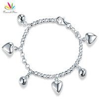 Estrela pavão Sólido 925 Sterling Silver Dangle Corações Pulseira Do Bebê Dom Crianças Menina Crianças Jóias CFB8005