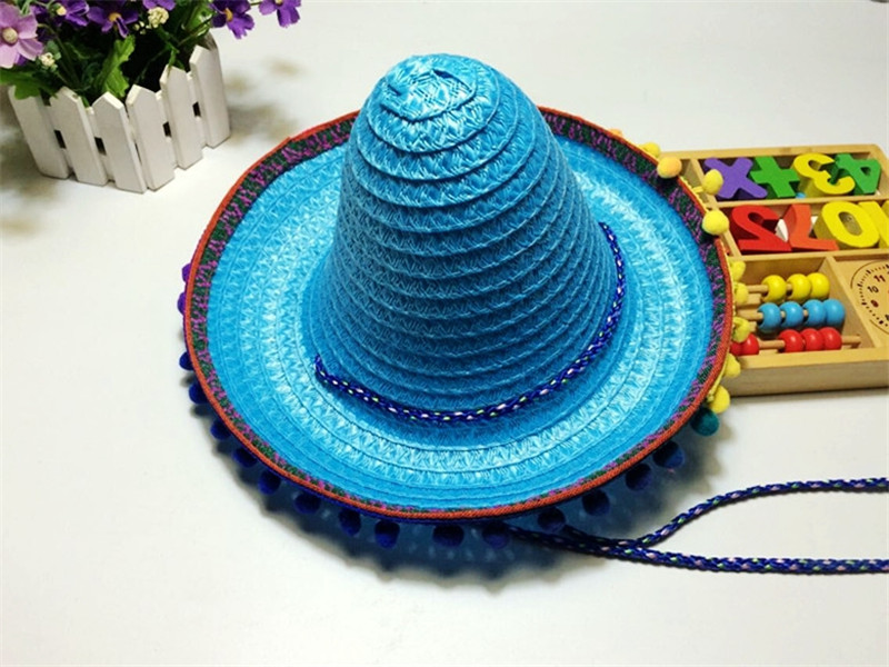 8f0837f036a18 Mexican Sombrero For Children Kids Show Straw Hats Dance Props Pompom Party  Hat 6Pcs lot Free Shipping-in Hats   Caps from Mother   Kids on  Aliexpress.com ...