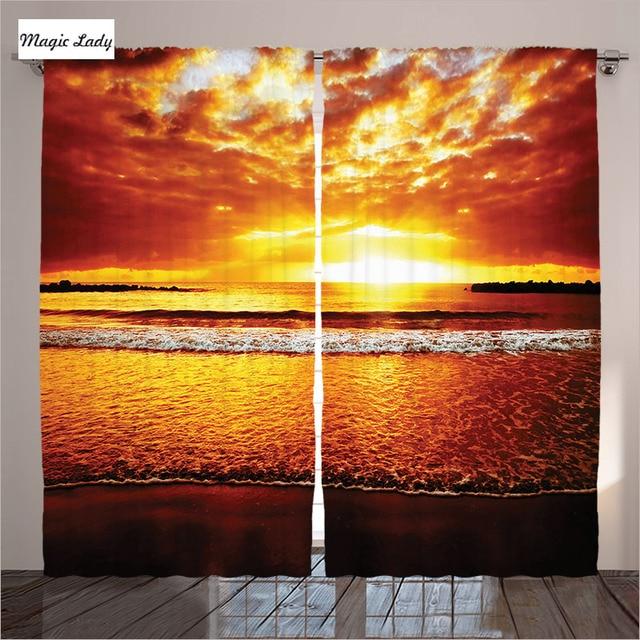 Orange Curtains Living Room Bedroom Sunset Ocean Sky Summertime Tropical Seaside Decor Brown Yellow 2 Panels