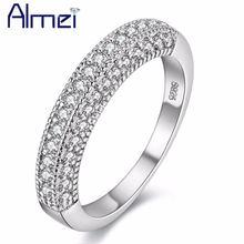 Женское Винтажное кольцо с цирконием almei серебряное огранкой