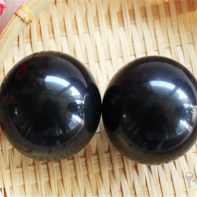 2pcs/set Natural BianStone Massage black Ball Exercise Meditation Stress Relief Handball Fitness Ball Health healing reiki balls
