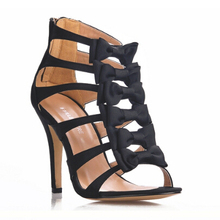 Black Bowtie Sexy Gladiator Women Sandals Summer Prom Shoes Thin High Heels Big Size Cuts-out Lady Zip Ankle Shoes