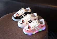 New 2017 fashion LED lighted lovely sneakers baby cute girls boys shoes breathable high quality leather baby shoes