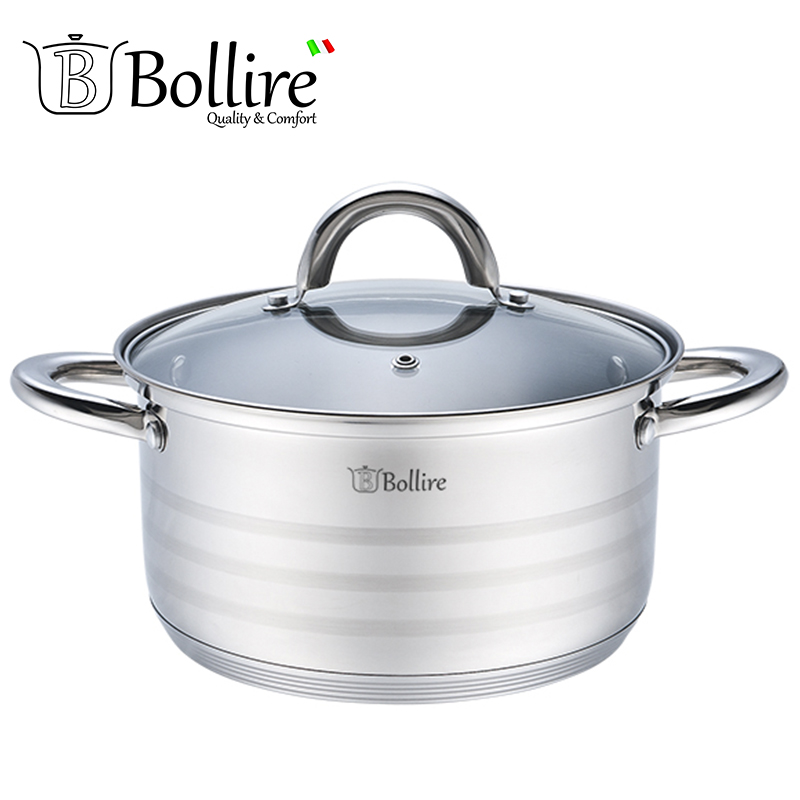 BR-2004 Casserole Bollire 5.2L 20cm Stainless steel Cover of heat-resistant glass with a hole for the release of steam ktv glass wooden stainless steel ti gold door pull handles 600mm