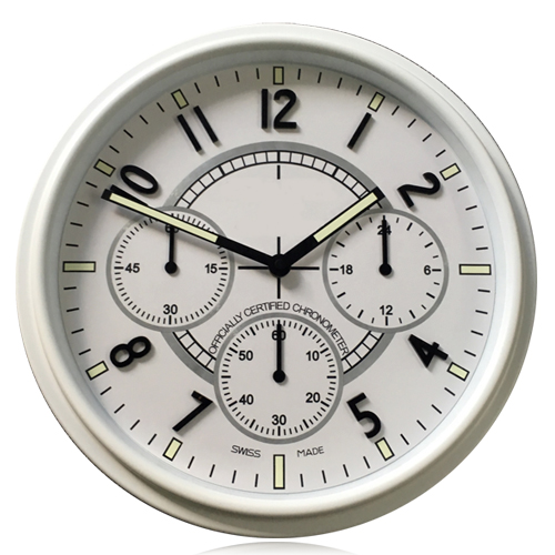 Beautiful Your House 34CM 13 5 inches White Black Steel Metal Wall Clock Luxury Style Silent
