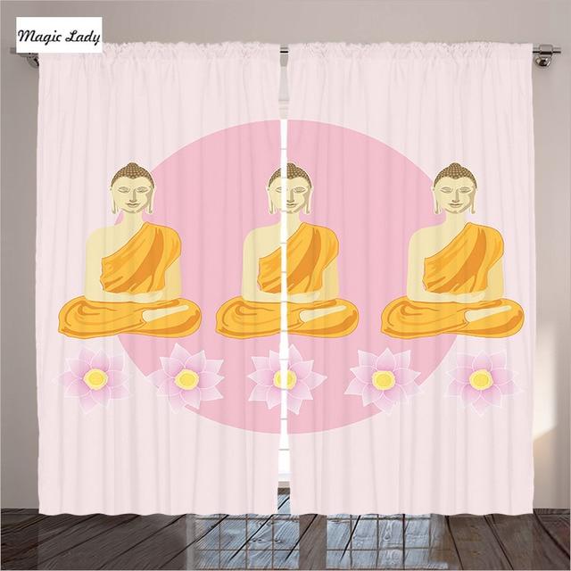 Pink Curtains Living Room Bedroom Meditation The Lotus Flowers ...