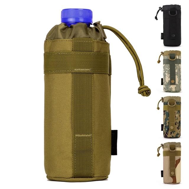 Sistema MOLLE Bolsillo para la Botella de Agua Titular d-ring Cordón Bolsa Bolsa Ejército Durable Nylon Bolsillo C