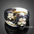 Jenia High Quality Oil Painting and Crystal Flower Ring Gold Plated Love Jewelry for Women XR137