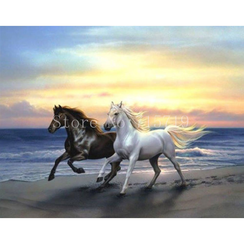 Patterns Of Sunset Diy 5D Diamond Painting Horse Decor Mosaic Patterns Rhinestone Needlework Embroidery Cross-Stitch No Frame ...